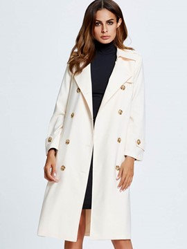 Ericdress Double-Breasted Loose Plain Coat