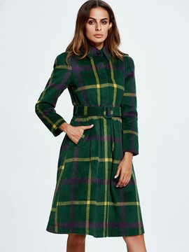Ericdress European Color Block Plaid Slim Coat