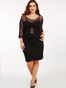 Ericdress Plus-Size Sexy Mesh See-Through Patchwork Sheath Dress
