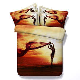 Sexy Woman Silhouette Printed Cotton 4-Piece 3D Bedding Sets/Duvet Covers