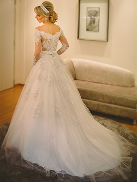 Ericdress Elegant Off The Shoulder Appliques A Line Long Sleeves Wedding Dress