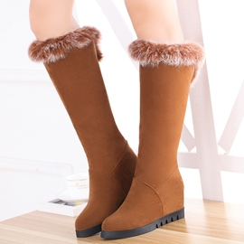 Ericdress Delicate Furry Elevator Heel Thigh High Boots