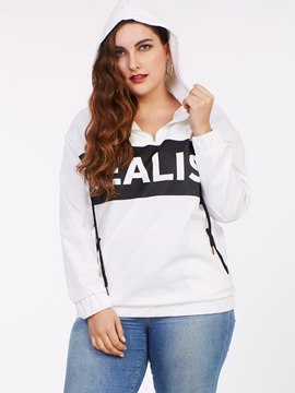 Ericdress Color Block Casual Plus Size Hoodie