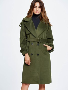 Ericdress Solid Color Loose Double-Breasted Polo Coat
