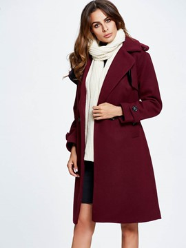 Ericdress Solid Color Slim Buttons Lace-Up Coat