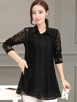 Ericdress Solid Color Lapel Three-Quarter Blouse