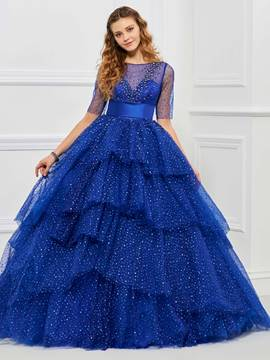 Ericdress Sweet manches courtes Dot imprimer couche Tulle robe de Quinceanera Ball