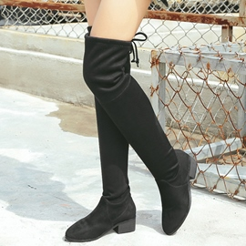 Ericdress Suede Back Bowtie Thigh High Boots