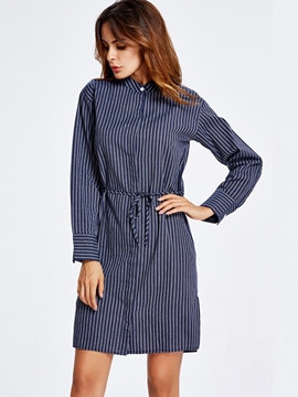 Ericdress Stand Collar Single-Breasted Lace-Up Straight Casual Dress