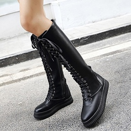 Ericdress PU Lace up Thigh High Boots