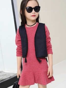 Ericdress Falbala Dress Plain Vest 2-Pcs Girls Outfit