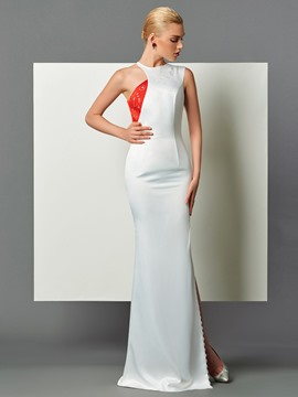 Ericdress Sheath Scoop Neck Side Slit Backless Evening Dress