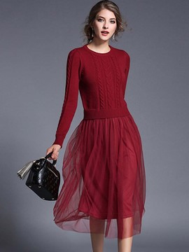 Ericdress Round Collar Mesh Patchwork Pleated Weave Sweater Dress