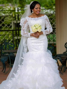 Ericdress Modest Bateau Appliques Mermaid Wedding Dress With Sleeves