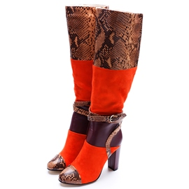 Ericdress Snake Printing Color Block Leather Thigh High Boots