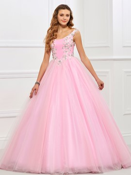 Ericdres Sweet Ball Riemen Applique Spitze Tüll Quinceanera Kleid