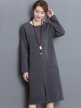 Ericdress Stylelines Split Pocket Round Collar Casual Dress
