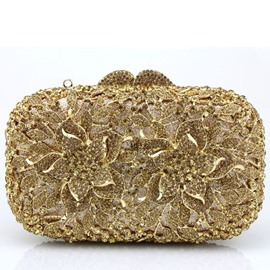 Ericdress Hollow Floral Diamante Evening Clutch