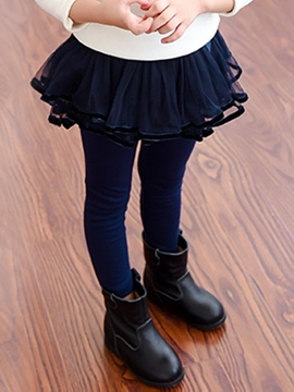Ericdress Layered Bow Plain Girls Leggings