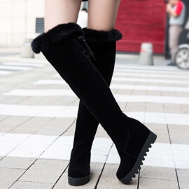 Ericdress Suede Furry Elevator Heel Thigh High Boots