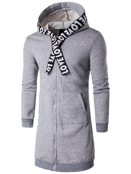 Ericdress Hood Vogue Unique Mid-Length Zip Men's Trench Coat