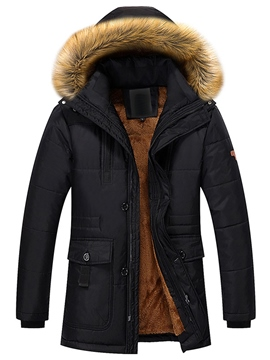 Ericdress Winter Style Fur Collar Flocking Warm Men's Coat