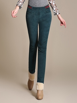 Ericdress Stripe Thick Skinny Pencil Pants