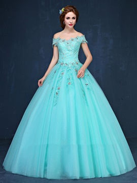 ericdress robe boule de cristal perles robe de quinceanera off-the-shoulder lacets
