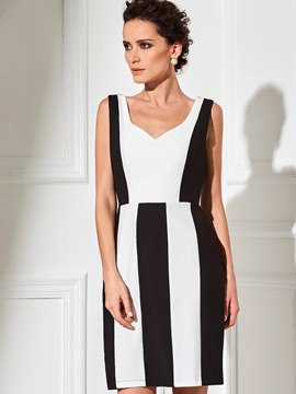Ericdress Summer Sleeveless Color Block Bodycon Dress