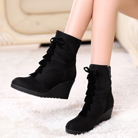 Ericdress Black Suede Side Zipper Wedge Heel Ankle Boots