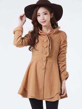 Sweet Flower Shaped Collar Woolen Coat