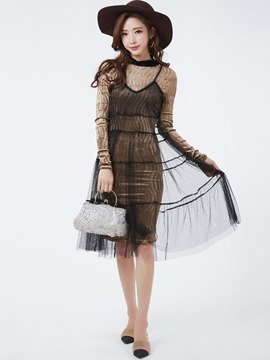 Ericdress Color Block Mesh Long Sleeve Dress Suit