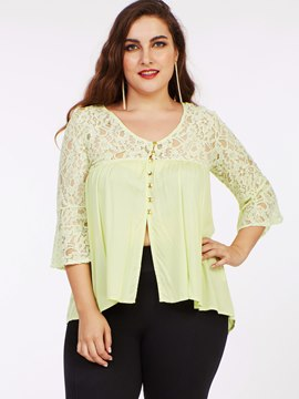 Ericdress Floral Crochet Plus Size Yellow Blouse