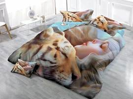 Amazing Tiger and Girl Print Satin Drill 4-Piece Duvet Cover Sets