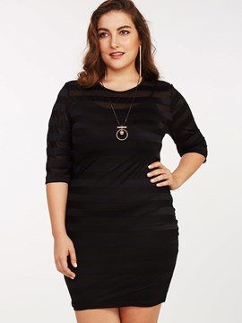 Ericdress Plus-Size Mesh See-Through Strip Bodycon Dress