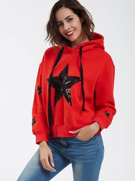 Ericdress Fashion Drop-Shoulder Sleeves Sequins Hoodie
