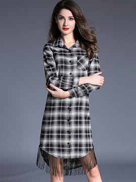 Ericdress Plaid Tassel Single-Breasted Patchwork Casual Dress
