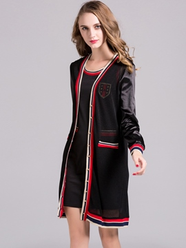 Ericdress Stripe Patchwork Long Sleeve Trench Coat Dress Suit