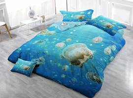 Beautiful White Jellyfish Print Satin Drill 4-Piece Duvet Cover Sets