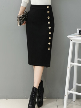 Ericdress Asymmetric Button High-Waist Bodycon Skirt