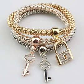 Ericdress Key & Lock Diamante Design Alloy Bracelet