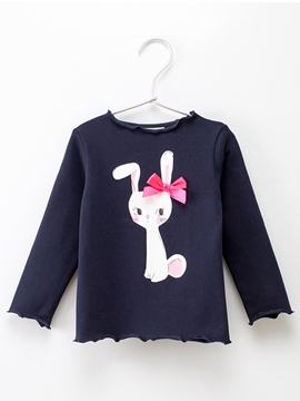 Ericdress Rabbit Print Round Neck Baby Girls T-Shirt