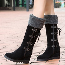 Ericdress Faux Fur Side Lace up Wedge Heel Knee High Boots