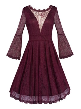 Ericdress Bell Sleeve Lace See-Through A Line Dress