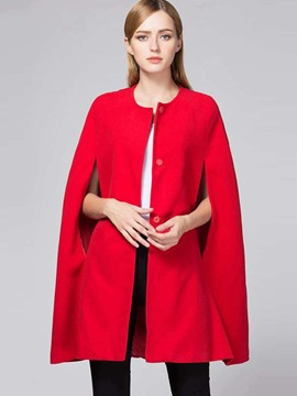 Ericdress Round Neck Single-Breasted Plain Cape