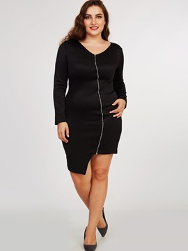 Ericdress Plus-Size Zipper Asymmetric Sheath Dress