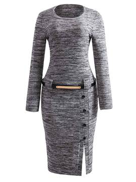 Ericdress Knitting Button Belt Sweater Dress