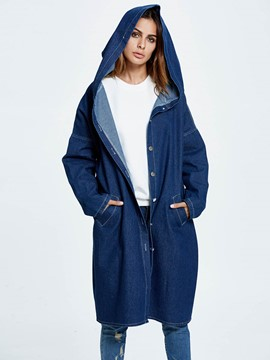 Ericdress Loose Single-Breasted Hooded Denim Outerwear