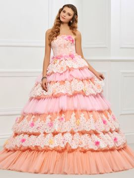 ericdress princesse couches de dentelle sans bretelles lacent dos boule quinceanera robe