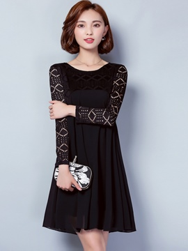 Ericdress Hollow Patchwork Pleated Trumpet Casual Dress